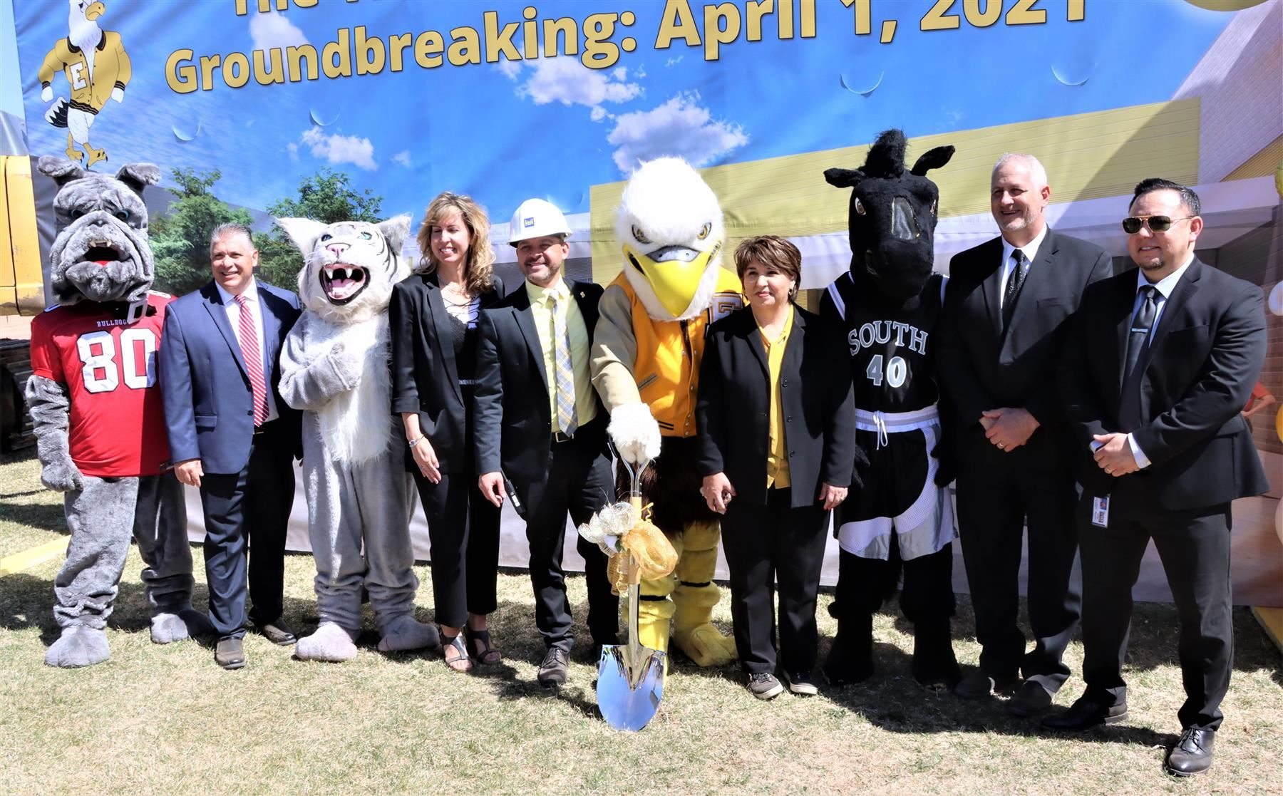 Principals and Mascots from all D60 HIgh Schools at the Groundbreaking for East