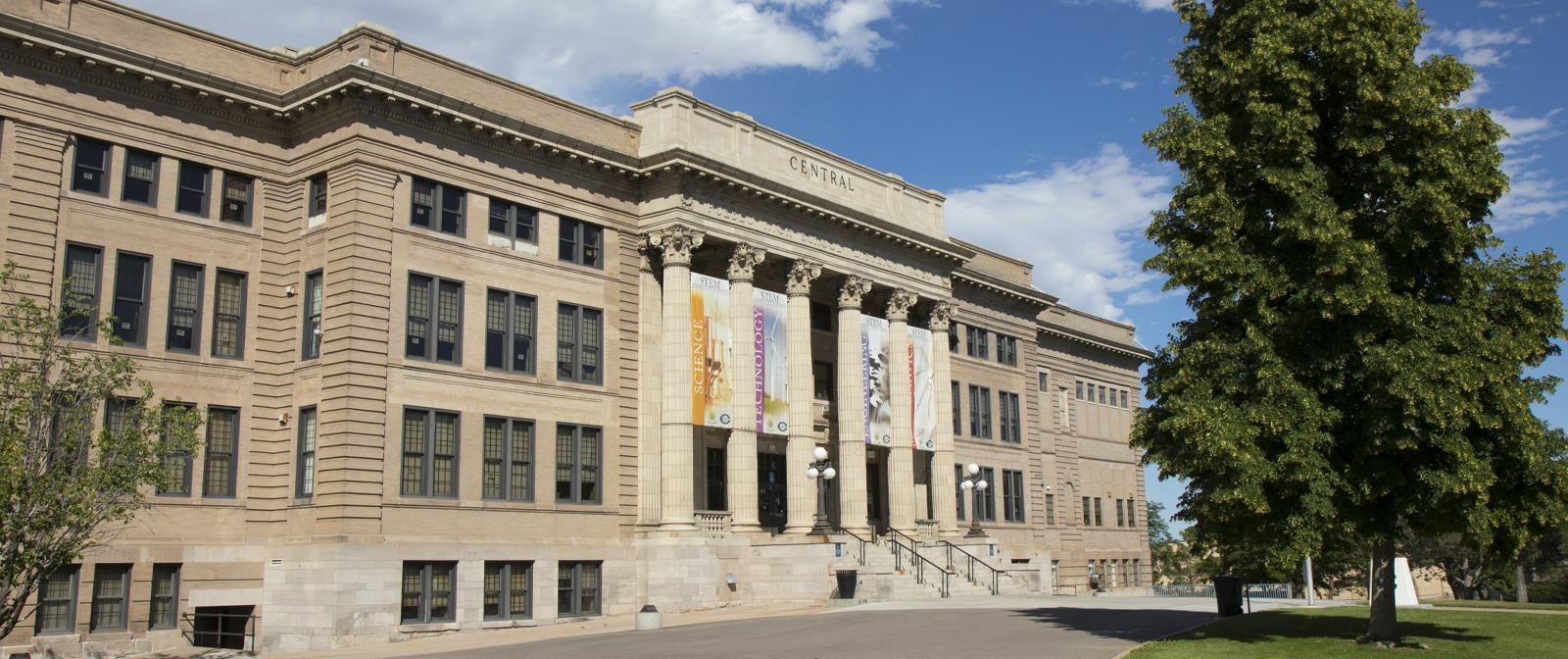 Front facade of Central High School in Pueblo, Colorado