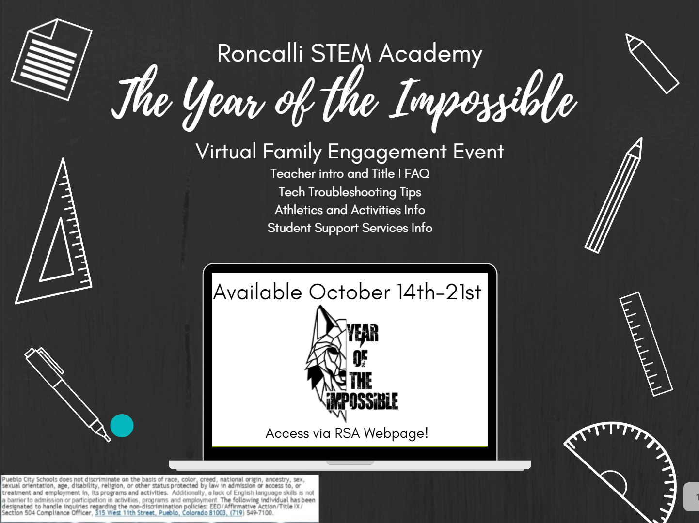 Virtual Family Engagement Event - October 14-21.